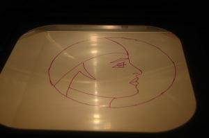 Transparentfolie auf den Projektor