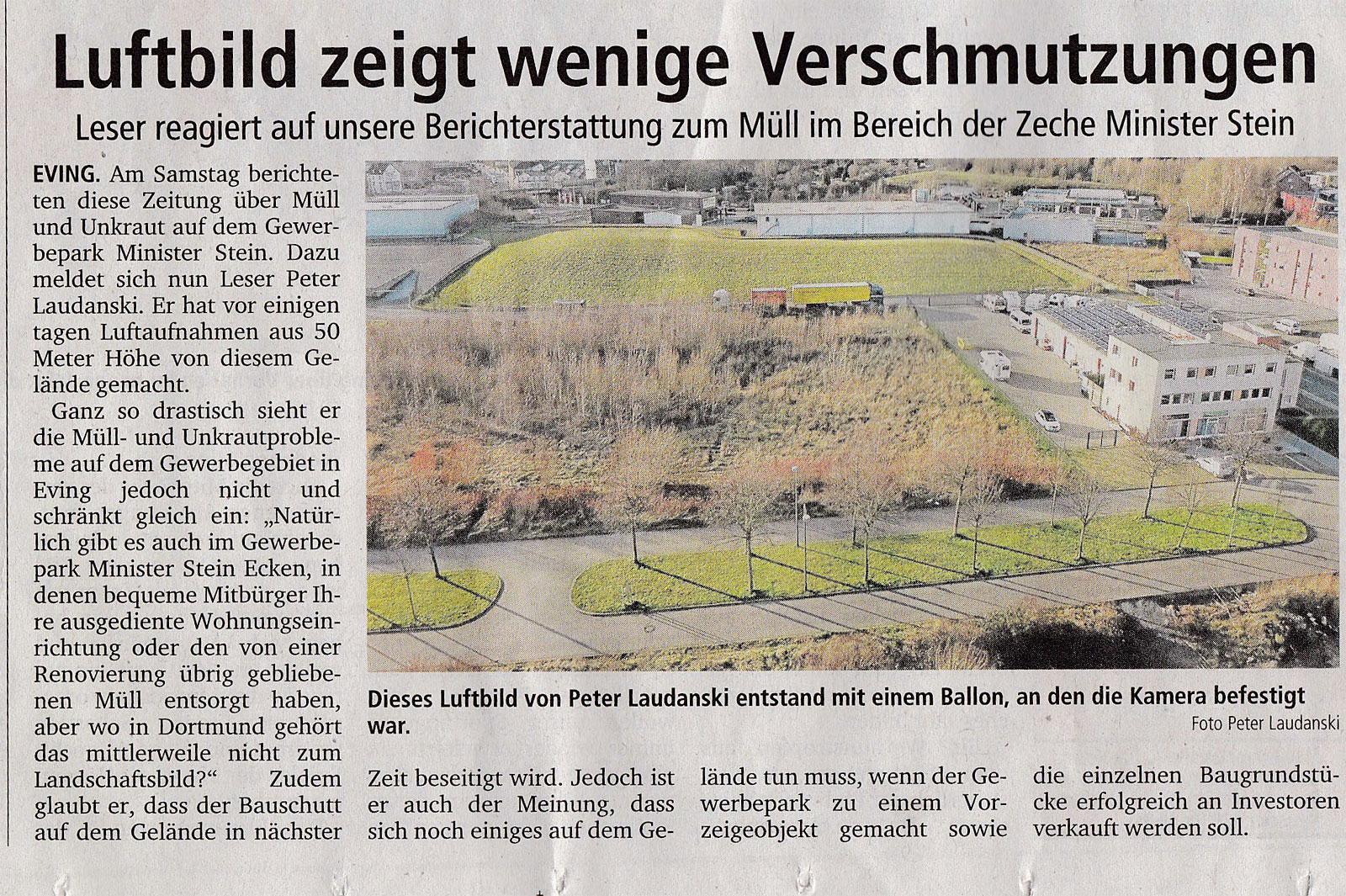Leserbrief mit Luftbild in den Ruhr-Nachrichten vom 7.1.2014